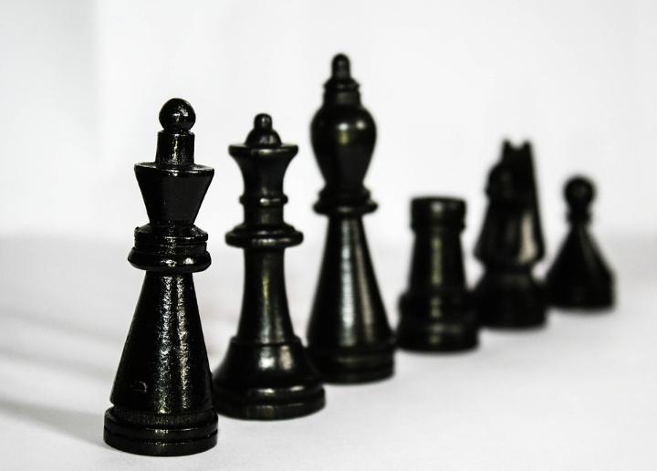 Auf dem Bild sind schwarze Schachfiguren ordentlich in einer Reihe aufstellt. Das Bild vermittelt den Eindruck von Ordnung.