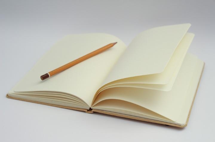 Symbolbild: Auf dem Bild ist ein aufgeschlagenes Buch mit einem Bleistift in der Mitte zu sehen. Die Seiten des Buchs sind leer.